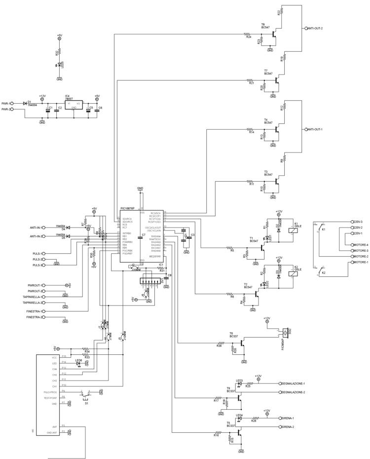 Domotica interfacciata all antifurto bentel con microcontrollore pic16f876 elettronica open source - Schema impianto allarme casa ...