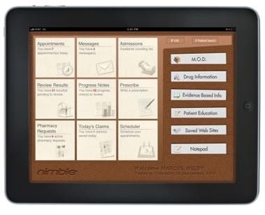 L'applicazione Nimble permetterà ai medici di velocizzare la gestione delle cartelle cliniche direttamente sull'iPad