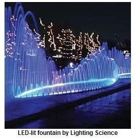 fontana con giochi di luce a led