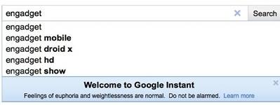 Google Instant aggiorna la ricerca dopo ogni lettera digitata dall'utente
