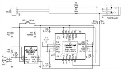 Un attenuatore per cuffie con monitor per microfono Schema