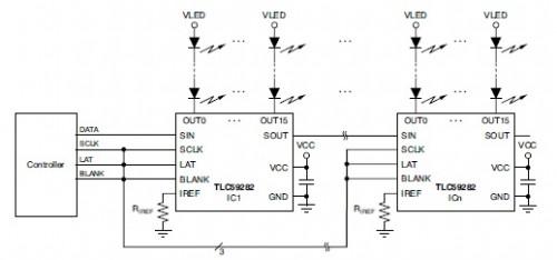 circuito tipico per la connessione di più TLC59282