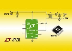 LT3574 il convertitore Flyback a bassa alimentazione elimina l'outcoupler