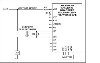 Uso del MAXQ3180, Front-End analogico, in configurazione a fase singola Schema Connessione