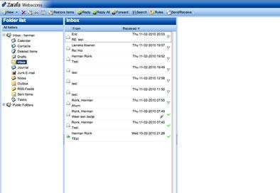 Zarafa Webmail permette di accedere alla posta elettronica privata, ma anche di condividere la casella di posta con altre persone