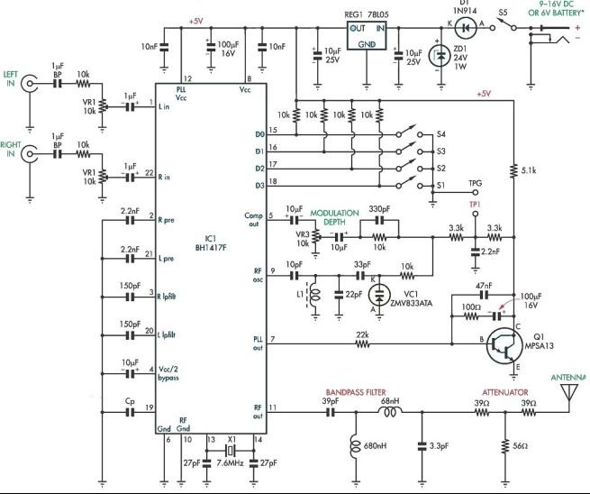 Schema Elettrico Jeep Renegade : Bh f trasmettitore fm stereo schema elettrico
