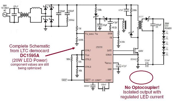 Schema Elettrico Dimmer Per Led 220v : Lt led driver direttamente dalla rete v