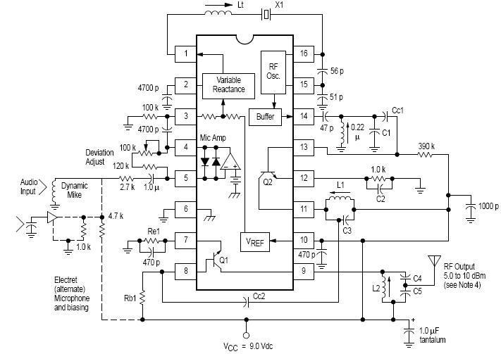 schema elettrico trasmettitore FM RF MC2833