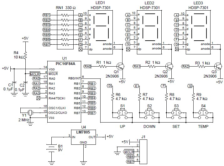 The PIC16F84A microcontroller is normally in SLEEP mode, consuming very little operating current but if any key is...