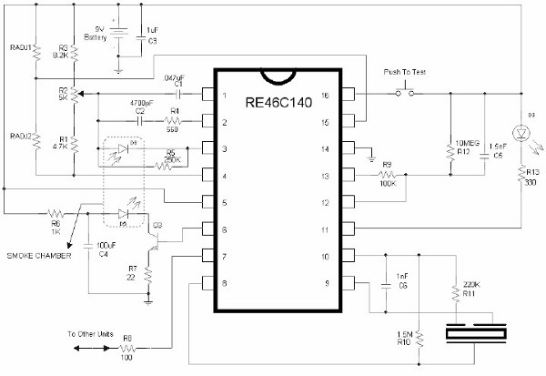 Schema Elettrico Rilevatore Di Presenza : Re c rivelatore di fumo schema elettrico