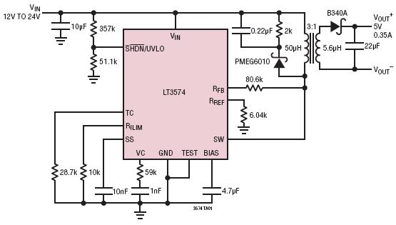 Convertitore Flyback con side primari in uscita Voltage Sensing
