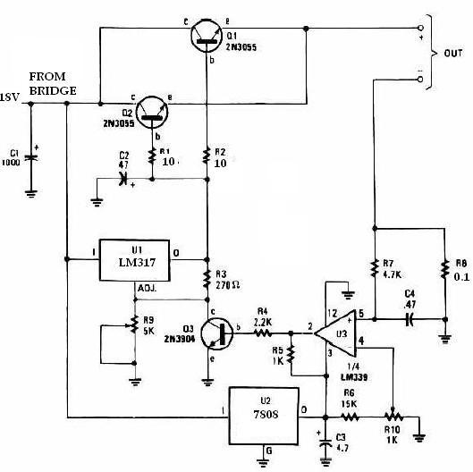 caricabatterie universale con lm317 e 2n3055  u2013 schema