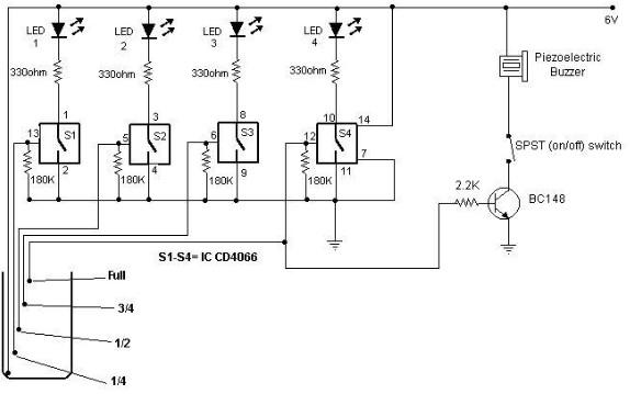 Schema Elettrico Galleggiante Serbatoio : Indicatore di livello dell acqua schema elettrico