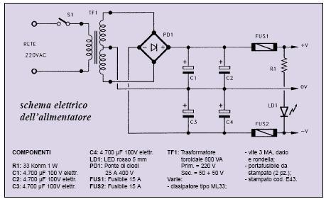 Schema elettrico trasformatore