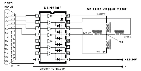 Schema Elettrico Per Motore Passo Passo : Come controllare uno stepper motor con una porta parallela