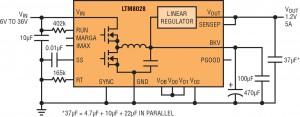 Conversione di potenza ad alta efficienza combinata con regolazione lineare a basso rumore