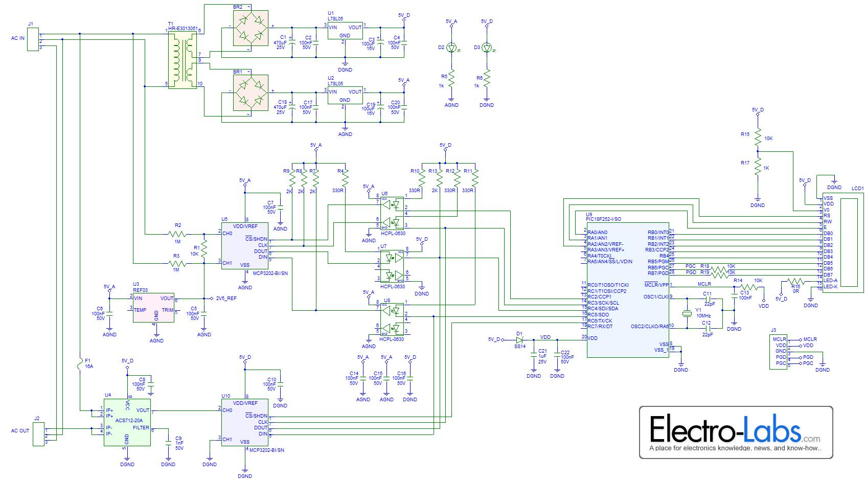 Schemi Elettrici Open Source : Wattmetro digitale ac fai da te elettronica open source