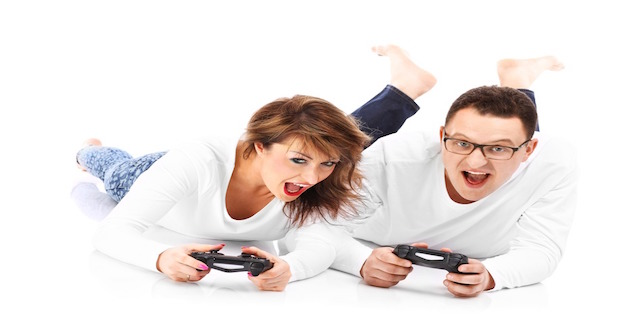 Couple playing videogames