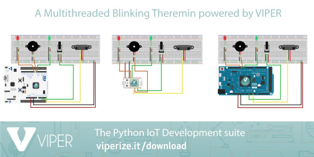 Multithreaded Blinking Theremin con VIPER