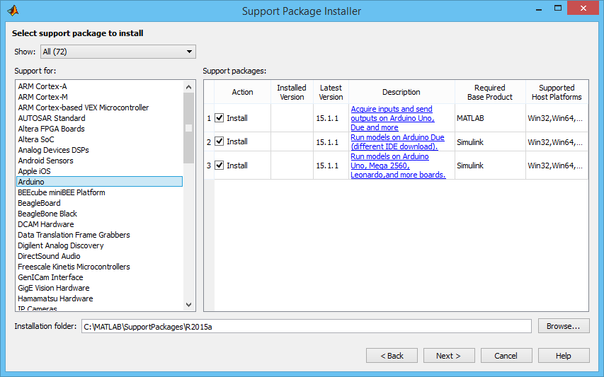 Figura 1.5.1: Support Package Installer di Matlab.