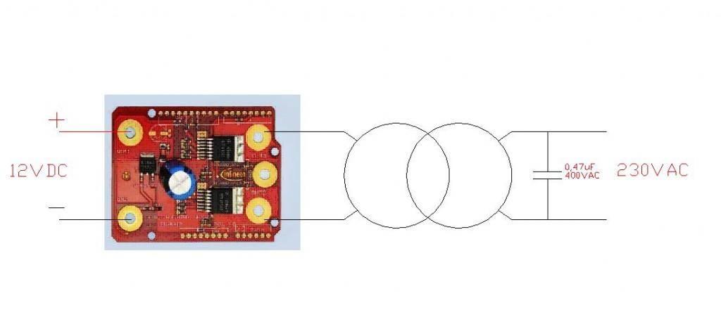 Schema elettrico: solo due componenti oltre alle schede Arduino Uno e Infineon motor shield