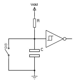 Figura 3. Debouncing hardware con rete RC e buffer triggerato