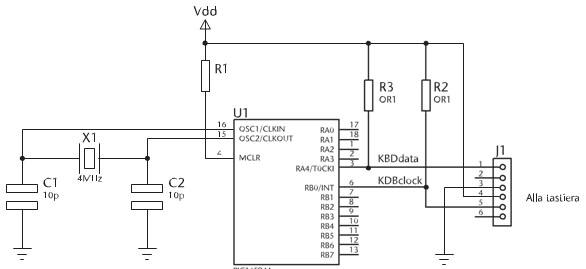 Figura 5. Schema di connessione tra PIC e tastiera PS/2