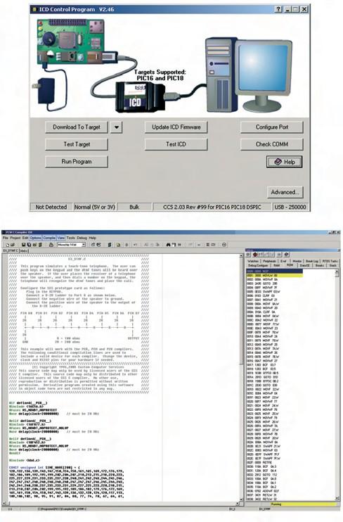 Figura 4. La gestione dell'ICD-U40 con il software stand-alone e mediante l'IDE del PCWH