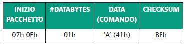 Tabella 7. Comando di cancellazione memoria programma e dati