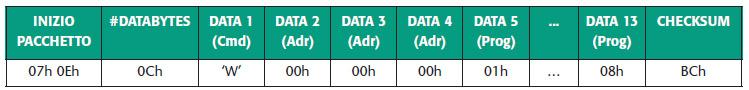 Tabella 9. Pacchetto dati per la programmazione della memoria programma