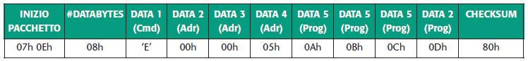 Tabella 10. Pacchetto dati per la programmazione della memoria dati