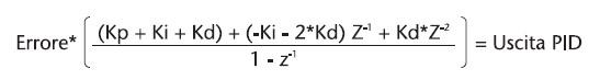 Figura 14. Il PID nella sua forma analitica in trasformata Z