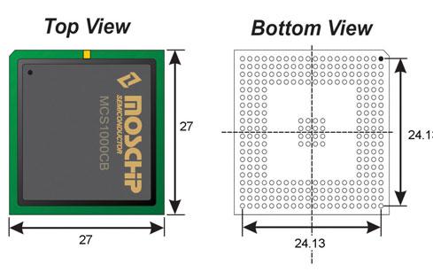 Figura 2. Vista superiore ed inferiore del package del MCS1000