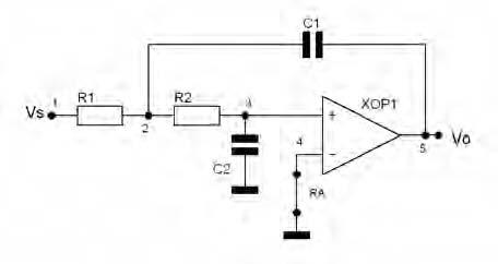 Figura 6. Cella passa basso di Sallen Key