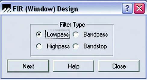 Figura 9. Digital Filter Design, scelta del filtro
