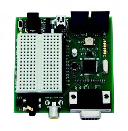 Figura 3. La demo board del propeller. Include connettori audio/video VGA, un connettore PS2 e il connettore per l'interfaccia USB per la programmazione. Con la protoboard èpossibile aggiungere e provare velocemente il proprio hardware