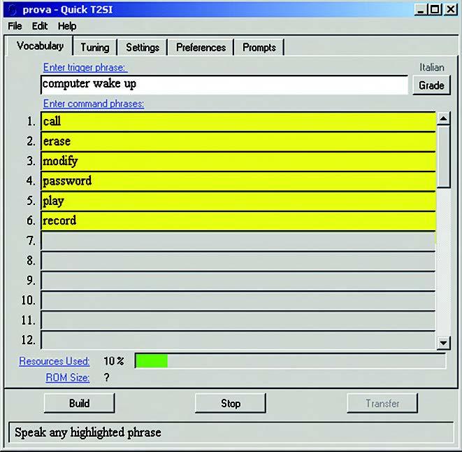 Figura 4. Inizio della fase di test del vocabolario dei comandi