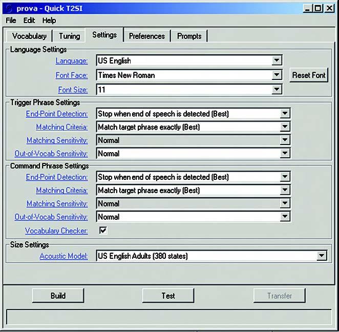 Figura 9. Parametri e settaggi del tool di riconoscimento