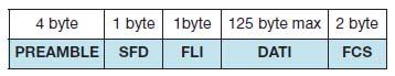 Tabella 3. Struttura del pacchetto dati utilizzato dal modem ZigBee per trasmettere in modalità Packet