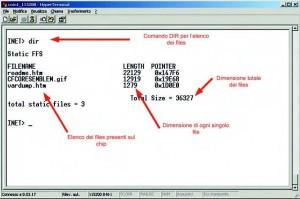 Figura 6. Sessione di HyperTerminal in cui è mostrato il sistema operativo implementato sul chip, per la gestione dei file da visualizzare tramite protocollo HTTP