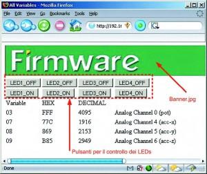 Figura 8. Aggiunta alla pagina web del comandi per l'accensione/spegnimento del LED e di un'immagine