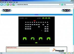 Figura 10. Il gioco Space Invaders implementato su MCF52233