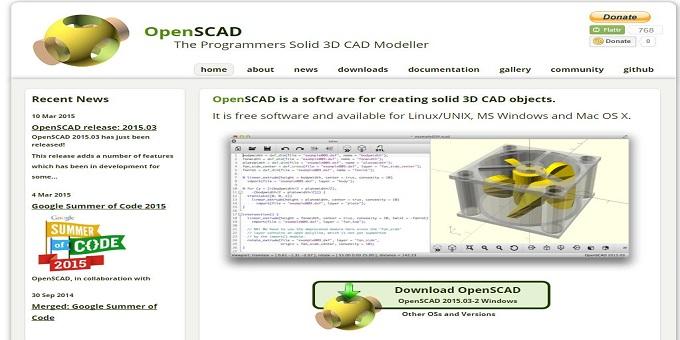 La home page ufficiale di OpenScad