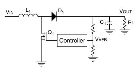 Figura 1. Topologia base di un convertitore boost operante in modalità discontinua. Il controller serve per controllare e stabilizzare la tensione di uscita