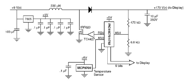 Figura 5. Schema elettrico di riferimento per la generazione della tensione 170VDC a partire da 9VDC