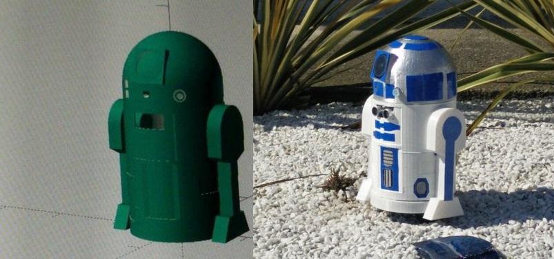 Figura 1: A sinistra il progetto compilato di R2D2, a destra il robot completo di elettronica