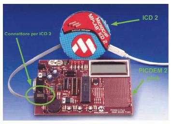 Figura 3. L'ICD 2 può essere comodamente utilizzato su tutte le schede di prototipazione della Microchip, come la PICDEM 2