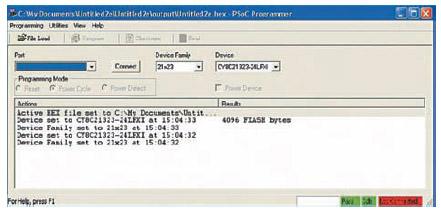 Figura 8. Il PSoC Programmer serve per programmare il dispositivo quando sono terminate la fasi di progettazione e simulazione del firmware. Per lanciarlo è sufficiente premere il tasto Program dall'interfaccia principale