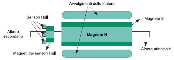 Figura 3. Il controllo della posizione in un motore brushless è ottenuto tramite sensori ad effetto Hall. La lettura del sensore da parte del micro permette di attuare il giusto movimento sugli avvolgimenti