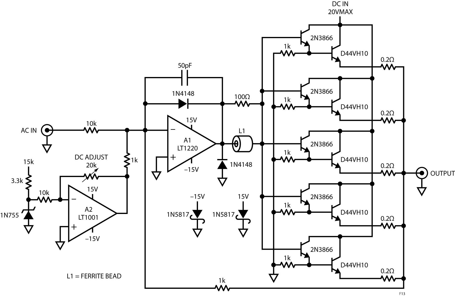 Figura 13. La scheda di pilotaggio somma le tensioni in corrente continua e alternata per fornire una corrente di molti ampere a frequenze sino a 10MHz.